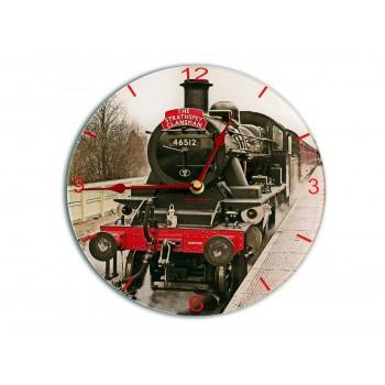 Steam Train Modern Round Acrylic Glass Medium kitchen Wall Clock 25cm dia