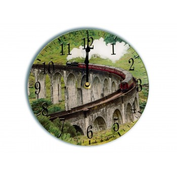 Glen Finnan Steam Train Contemporary Round Medium Kitchen Wall Clock 25cm dia
