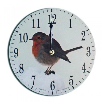 Robin Modern Round Acrylic Glass Medium Kitchen Wall Clock 25cm dia