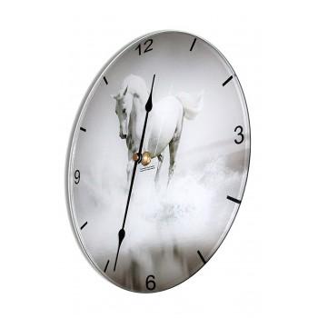 White Horse Contemporary Round Acrylic Glass Medium Kitchen Wall Clock