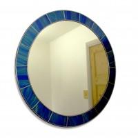 Peacock Blue Mosaic Edge 60cm Round Wall Mirror