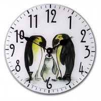 "Penguin ""Kids"" Print Round Acrylic Glass Kitchen Wall Clock 25cm dia"