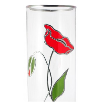 Art Nouveau Red Poppy and Bud Decorative Leaded Glass 30cm Flower Vase