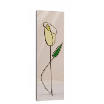 Art Deco/Nouveau Yellow Lily With Bow Design Leaded Rectangular Mirror