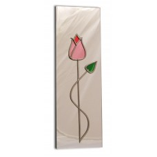 Art Deco/Nouveau Pink Tulip With Twist Design Leaded Rectangular Wall Mirror