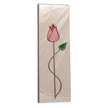Art Deco/Nouveau Pink Tulip With Twist Design Leaded Rectangular Wall Mirror