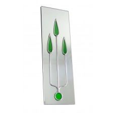 Art Deco/Nouveau Green Trident Design Leaded Rectangular Wall Mirror