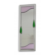 Art Deco/Nouveau Pink And Green Spear Panel Design Leaded Rectangular Wall Mirror