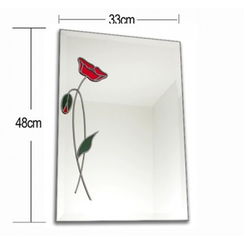 Poppy Rectangular Lead Overlay Stained Glass Wall Mirror