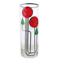 Red Mackintosh Style June Rose and Twin Buds 30cm Leaded Glass Vase