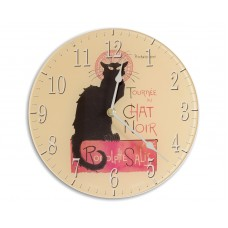 Retro Chic Chat Noir Acrylic Glass Round Medium Kitchen Wall Clock 25cm dia