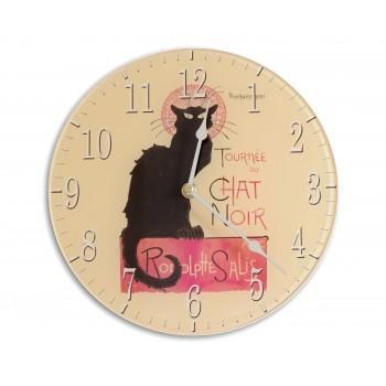 Retro Chic Chat Noir Acrylic Glass Round Medium Kitchen Wall Clock 25cm dia