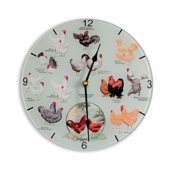Chicken Breeds Retro Chic Round Acrylic Glass Medium Kitchen Wall Clock 25cm dia
