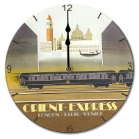 Orient Express Retro Chic Round Acrylic Glass Kitchen Wall Clock 25cm dia