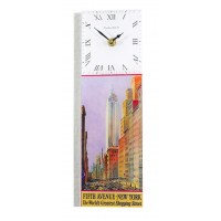 Art Deco New York Fifth Avenue Retro Chic Rectangular Kitchen Wall Clock 10 x 32cm