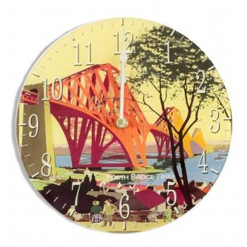 Forth Bridge Retro Round Acrylic Glass Medium Kitchen Wall Clock 25cm dia