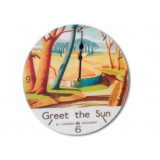 Greet The Sun Retro Chic Acrylic Glass Round Medium Wall Clock 25cm dia
