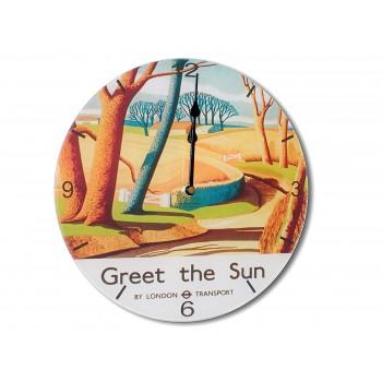 Greet The Sun Retro Chic Acrylic Glass Round Medium Wall Clock 25cm dia