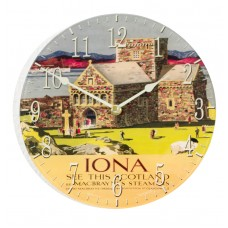 Round Iona Retro Acrylic Glass Medium Kitchen Wall Clock 25cm dia