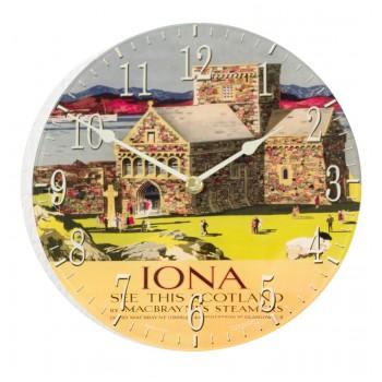 Round Iona Retro Acrylic Glass Medium Kitchen Wall Clock 25cm dia