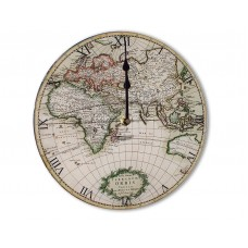 Classic Antique Retro Chic Style World Map Round Acrylic Glass Kitchen Wall Clock 25cm dia