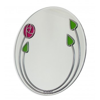 Art Deco Mackintosh Style Red Rose and Buds Round Leaded Stained Glass Decorative Medium Size 30cm Wall Mirror