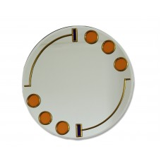 Large 40cm Art Deco Circles and Bars Round Leaded Glass Decorative Wall Mirror