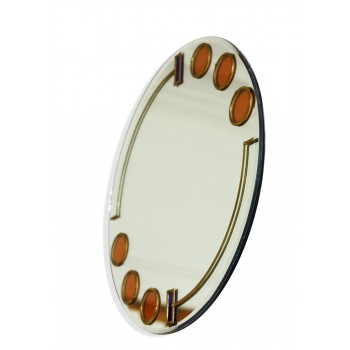 Large 40cm Art Deco Circles and Bars Round Leaded Decorative Wall Mirror Design