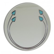 Art Deco Aqua Buds Round Leaded Stained Glass Decorative Medium 30cm Wall Mirror