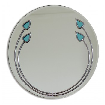 Art Deco Aqua Buds Round Leaded Decorative Large 40cm Wall Mirror Design