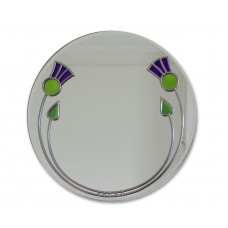 Art Deco Thistles and Buds Round Leaded Stained Glass Decorative Medium Size 30cm Wall Mirror