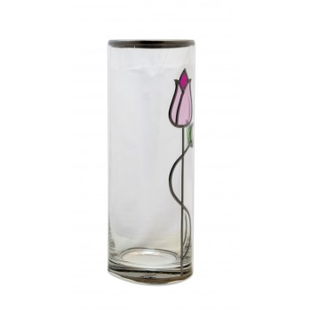 Pink Tulip With Twist Art Nouveau Style Leaded Stained Glass Flower Vase 25cm high