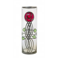 Art Nouveau Red Mackintosh Style curved Stem Rose and Buds Decorative Leaded Stained Glass 30cm Round Flower Vase