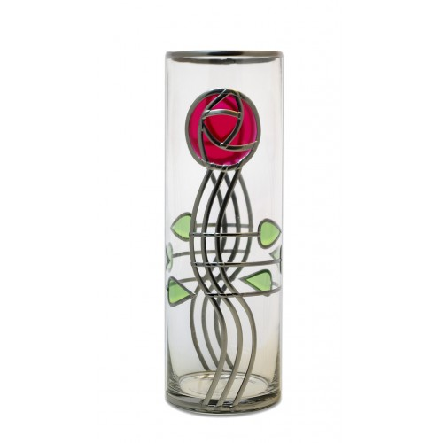 Red Mackintosh Style Rose And Deco Buds 30cm Leaded Glass Vase Light