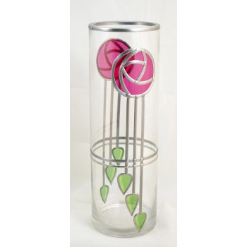 Red Mackintosh Style Straight Stem Rose and Deco Buds Decorative Leaded Stained Glass Round Vase 30cm