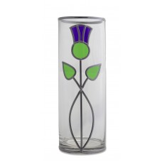 Double Bow Thistle Art Nouveau Style Decorative Leaded Stained Glass 25cm Round Flower Vase