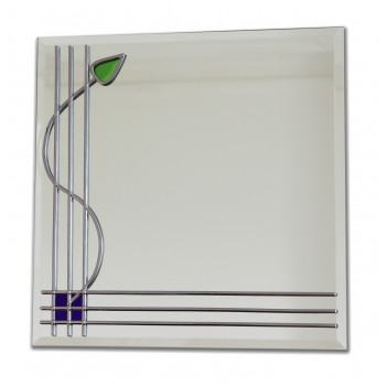 Art Deco Bars and bud twist Square Leaded Stained Glass Decorative Wall Mirror Medium 30 x 30cm