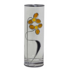 Tango, Dance Inspired Gold and Midnight Blue Art Nouveau style Leaded Glass Vase 25 x 8cm