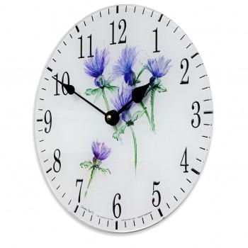 Thistles Acrylic Glass Round Medium Kitchen Wall Clock 25cm dia