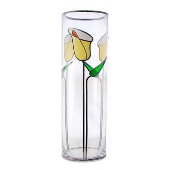 Triple Calla Lily Art Nouveau Style leaded Glass Flower Vase 30x10cm